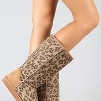 Amazon.com: Window-11 Leopard Round Toe Knee High Vegan Boot: Shoes