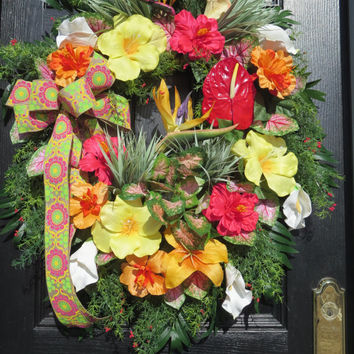 Summer Wreaths, Tropical Wreaths, Tropical Silk Flowers, Front Door Wreaths, Summer Door Wreaths, Hawaiian Wreaths, Hibiscus, Calla Lilies