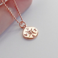 Mothers Day Sale - Compass Necklace, Rose Gold, Graduation Graduate Gift Class of 2015 with Card Gift Box Set