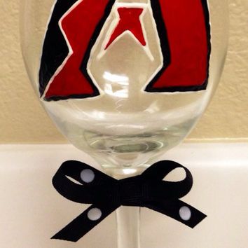 Hand-Painted Arizona Diamondbacks Wine Glass