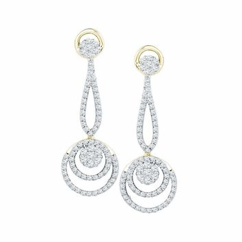 10kt Yellow Gold Women's Round Diamond Circle Cluster Dangle Earrings 1.00 Cttw - FREE Shipping (US/CAN)