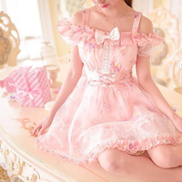 S/M/L Pink Princess Pastel Floral Lace Shoulder Off Dress SP152130