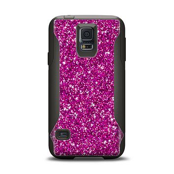 The Bright Pink Glitter Samsung Galaxy S5 Otterbox Commuter Case Skin Set