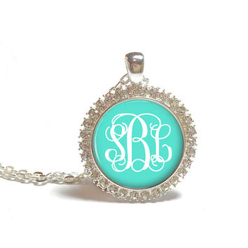 Monogram Necklace, Rhinestone Monogram Necklace, Personalized Jewelry, Monogram Jewelry (382)