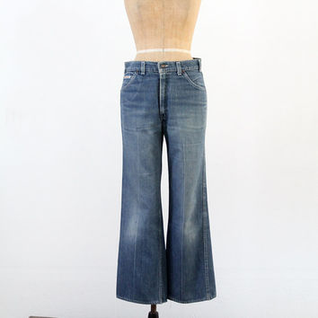 1970s Levis Movin On Jeans / Vintage Levis Denim / Waist 33