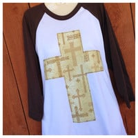 3/4 Sleeve Brown with Multi Cross Print Cross and Crystal Accents
