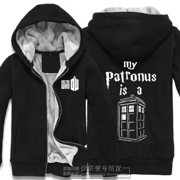 Hooded Doctor Who New Fashion Popular Hoodie Coat Sweatshirt Thicken Jacket Zipper Men cardigan women