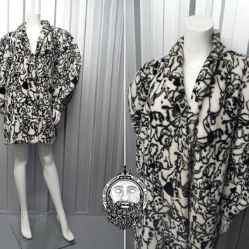 Vintage 80s 101 Dalmations Faux Fur Coat Disney Jacket Black and White Avant Garde Monochrome Print Cruella Deville De Vil Fake Fuzzy Furry