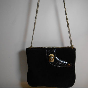 Vintage Ruth Saltz Leather and suede Clutch, shoulder bag with chain