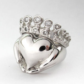 Claddagh Wedding Set - New - White Gold - Diamond - Engagement Ring and Wedding Band- Rickson Jewellery