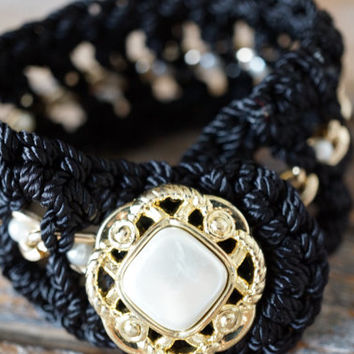 Black Crochet Bracelet Arm Candy Wrist Cuff Bracelet Button Closure