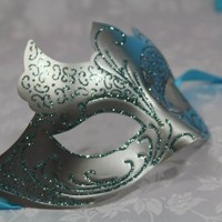 A Unique Venetian Blue & Silver Design Popular Design Venetian Masquerade Masks NEW