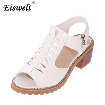 EISWELT Vintage Elegant Mid Square Heel Women's Sandals Summer Style Peep Toe Cross Tied Side Zip Design Shoes Woman#ZQS015