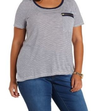 Plus Size High-Low Striped Zipper Pocket Tee