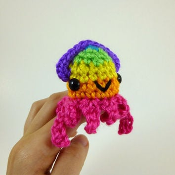 Baby Squid - Bright Rainbow Striped - Pink Base - Made to Order - Amigurumi Crochet Plushie