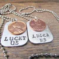 LUCKY US Necklace Set of 2 Hand Stamped Penny Personalized Jewelry Wedding Gift Couples Charm Necklaces 1950 to 2013 Pennies Stainless Chain