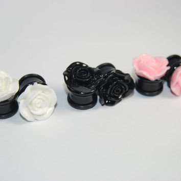 Black Acrylic Rose Plugs, Ear Gauges, Stretched Ears, Weddings, Formal, Floral, Pink, White, Flower, Plugs for Girls, CHOOSE SIZE and COLOR