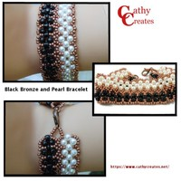 Black Bronze and Pearl Bracelet | cathycreates.net