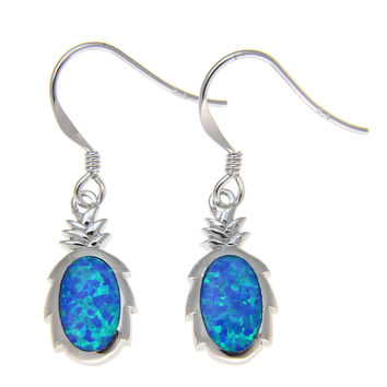 925 Sterling Silver Rhodium Hawaiian Pineapple Blue Opal Hook Wire Earrings