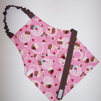 Pink cupcake reversible apron brown white polka dots Montessori baker art smock elastic neck Velcro waist party favor cupcakes cherries