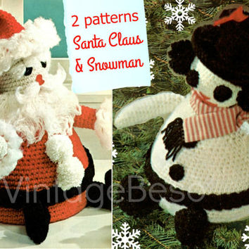 2 Patterns CROCHET CHRISTMAS 1960s Vintage Crochet Pattern Santa Claus and Snowman Door Stops great as Home Decor anywhere Christmas