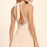 Any Sway, Shape, Or Form Blush Pink Lace Halter Dress