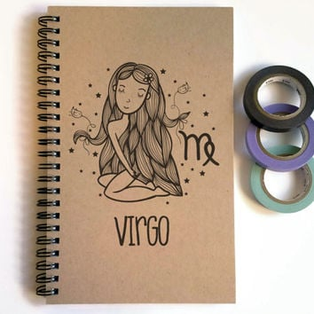 Writing journal, spiral notebook, cute diary, small sketchbook, scrapbook, memory book, 5x8 journal - Virgo, zodiac sign, astrology