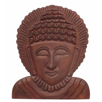 Wooden Buddha Wall Hanging Art Decor, Brown-The Urban Port