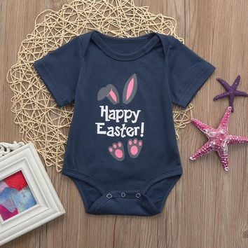 2018 Baby Clothes Newborn Baby Boys Girls Summer Easter Letter Cartoon Rabbit Print Rompers Jumpsuit Outfit Costume for Kids
