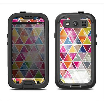 The Colorful Abstract Stacked Triangles Samsung Galaxy S3 LifeProof Fre Case Skin Set
