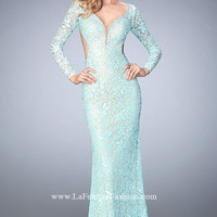 Long Sweetheart Long Sleeve Lace Prom Dress by La Femme