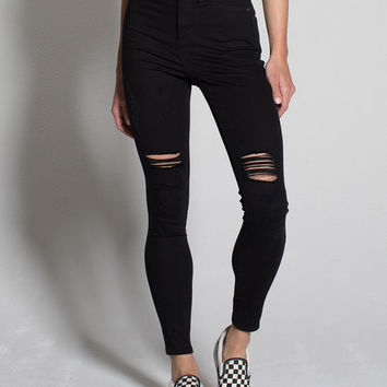 RSQ LA Super High Rise Womens Ripped Skinny Jeans