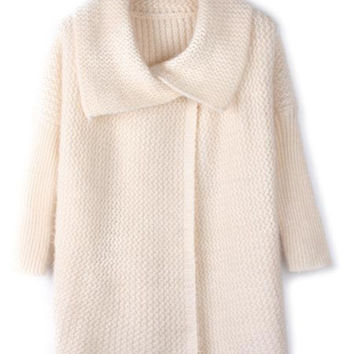 Casual Large Lapel Bat Sleeve Loose Knitted Sweater Coat