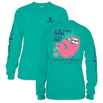 Simply Southern Preppy Sloth Seafoam Long Sleeve T-Shirt
