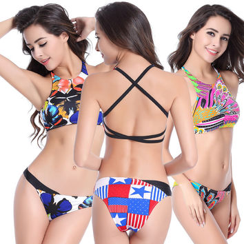 Stylish Bikini Body Fitness Swim apron design trends spell color peacock pattern American flag Tank Top printing halter swimsuit
