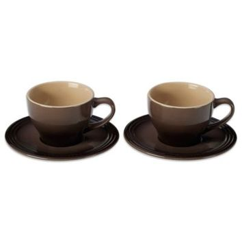 Le Creuset® Cappuccino Cups and Saucers in Truffle (Set of 2)