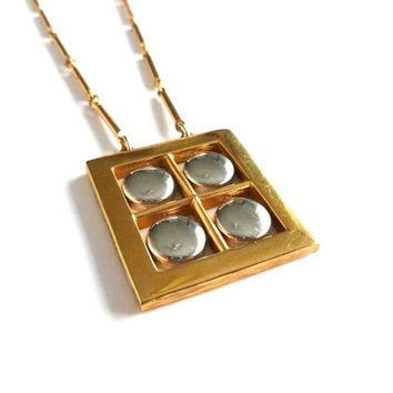 Amway Artisrty Pendant Necklace Geometeric Pendant 1970s Estate Jewelry Gold Silver Tone