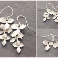 Mother Daughter Orchid Earrings, silver orchid earrings, mom and daughter, flower earrings, sister jewelry, matching earrings, N10