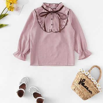 Toddler Girls Tie Neck Striped Blouse