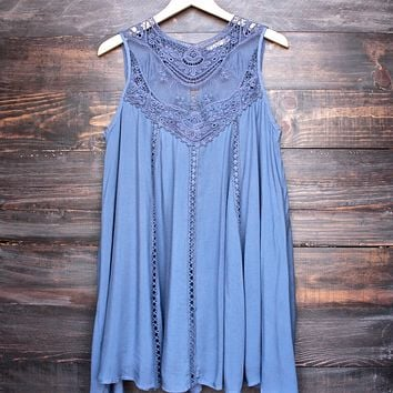 Final Sale - Boho Crochet Lace Dress in Slate Blue
