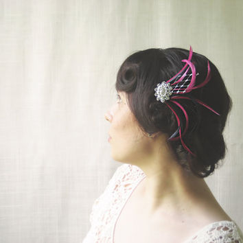 Bridal Fascinator, Special Occasion Fascinator, Feather Hair Comb, Glamorous Hair Piece, Pink Hair Accessory