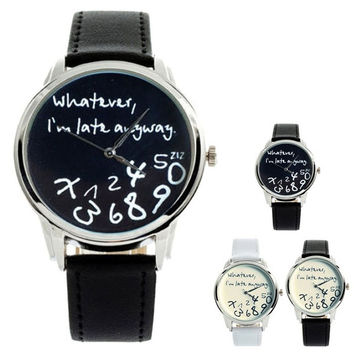 "New Fashion Funny Women Men Analog Quartz Whatever,I""m Late Anyway Wrist Watch = 1932670980"