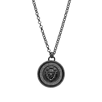 """2.73ct Micro Pavé Diamonds in 925 Sterling Silver Lion Face Medallion Necklace 30"""""""