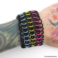 Pansexual pride stretchy cuff bracelet, chainmaille European 4 in 1 weave