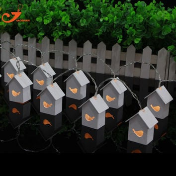 Wooden House Bird lights10 LED Party Lights Wood Mini Birdhouse Decoration Christmas lights Indoor Spring String lights
