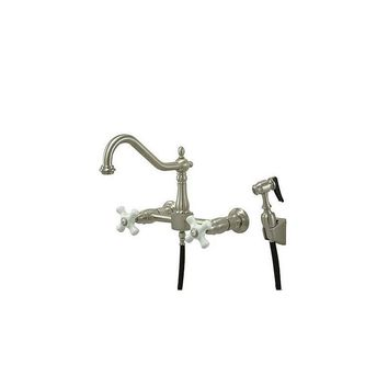 Elements of Design Heritage Double Handle Wall Mount Bridge Kitchen Faucet with Porcelain Cross Handles and Side Spray