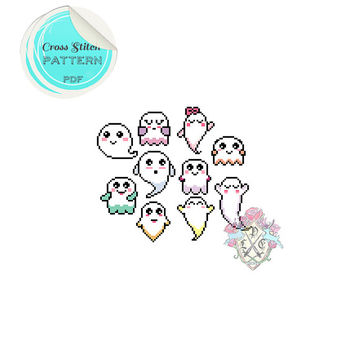 "Cross Stitch Pattern ""Happy Ghouls"" Colour dipped Kawaii Ghosts x 10"