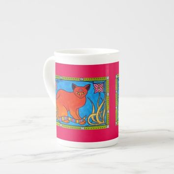 Indian Cat With Lilies Colorful Cat Design Tea Cup