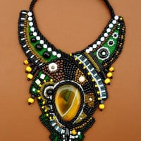 Rain Forest Bead Embroidery Bib Necklace Ani Jewelry Designs Afrika inspired yellow agate