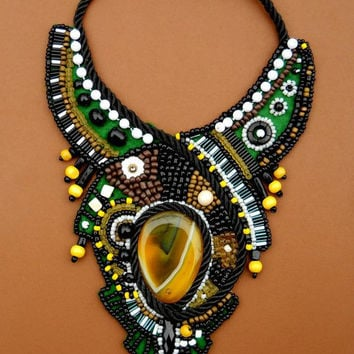 Rain Forest Bead Embroidery Bib Necklace From Anidandelion On I